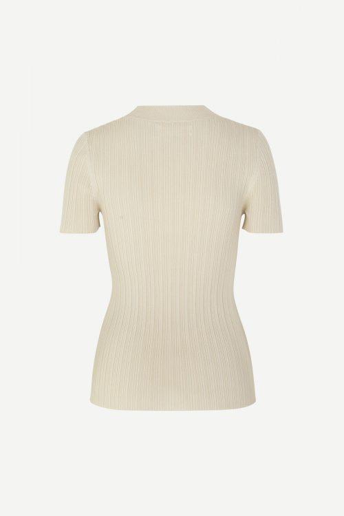 Kremfarget ribbet topp Samsøe - 11559 joan t-shirt