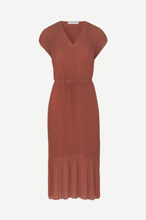 Rustrød lang plissé kjole Samsøe - 6621 leola long dress