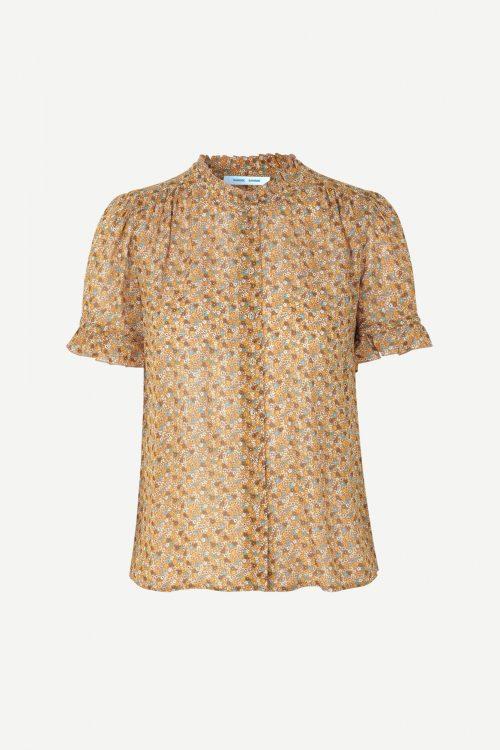 Blomstret viskose bluse med volangkant Samsøe - 9695 rosella shirt