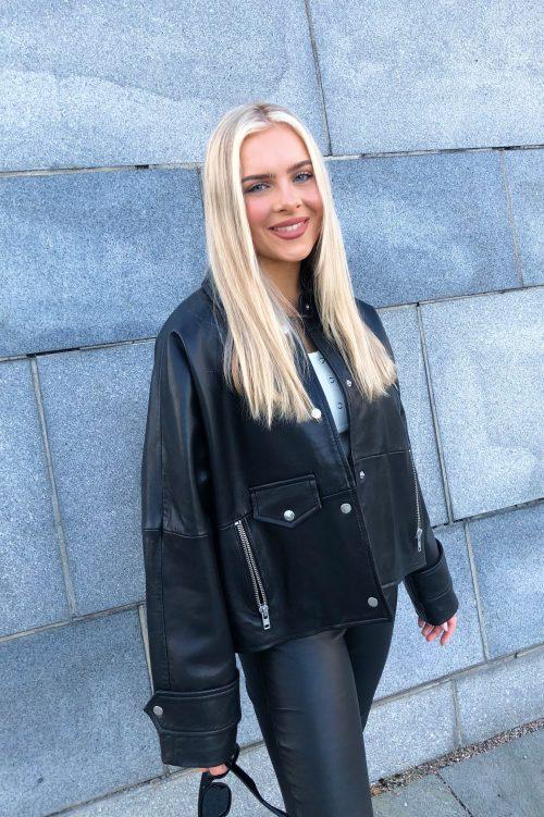 Sort vid råtøff lammeskinn jakke Stand Studio - Brooklyn Jacket