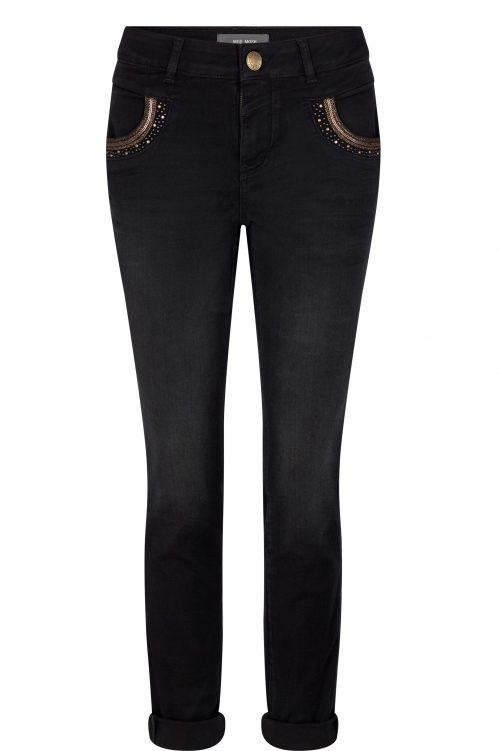 Sort jeans med gullplajett Mos Mosh - 134191 Naomi Mercury Jeans Long Black