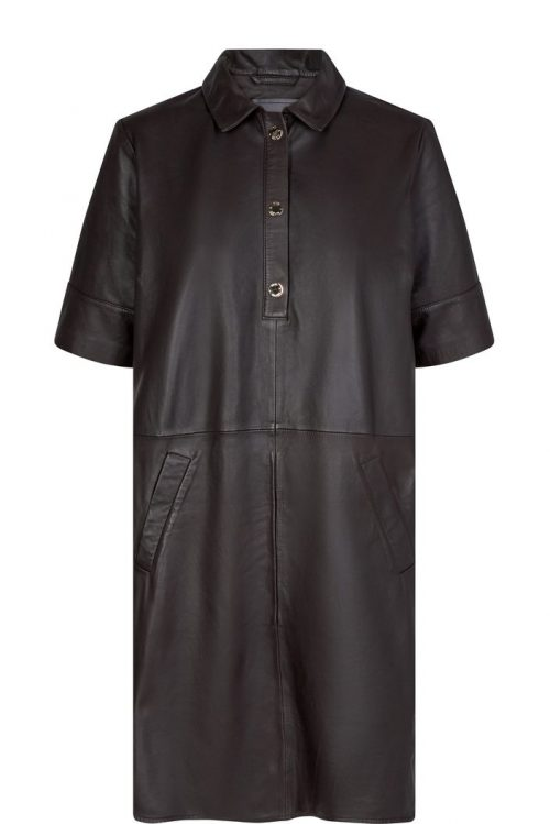 Stunning molé brown lammeskinnskjole Mos Mosh - 134940 Esther Leather Dress