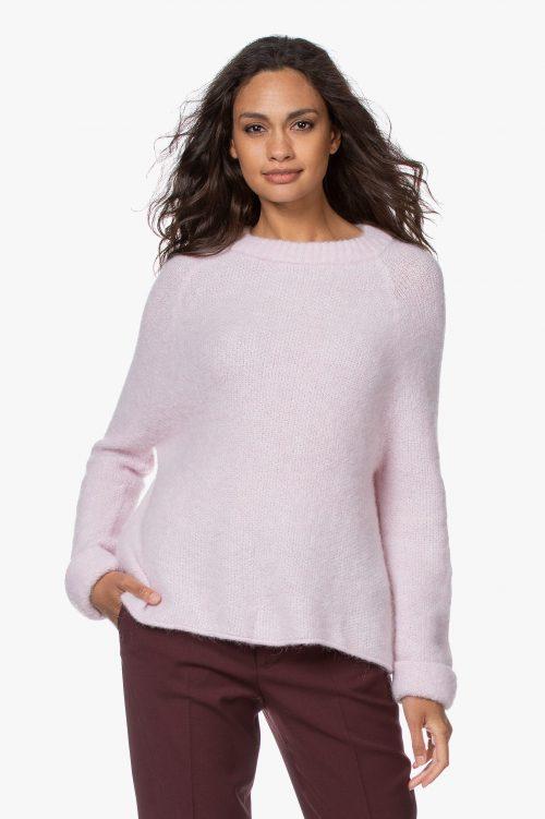 Babylilla eller krem (nacre chine) alpakkamix genser med raglan og flettet krage American Vintage - east18a