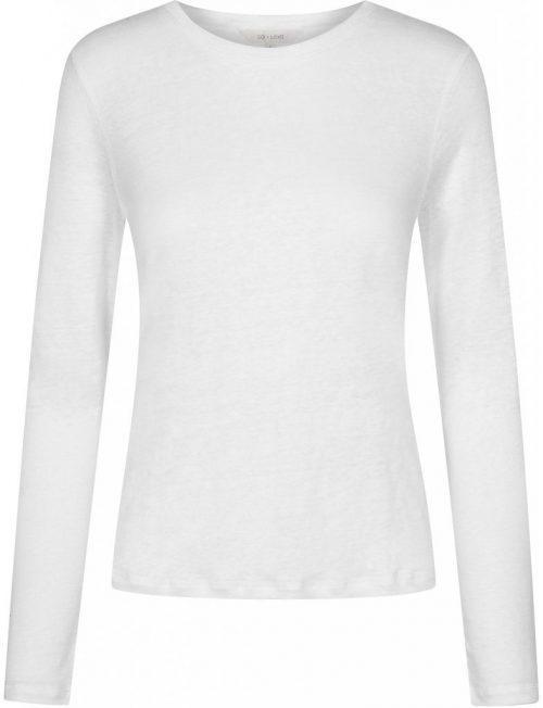 Beige, hvit, navy eller sort lin long sleeve topp Gai + Lisva - Asta GL11361