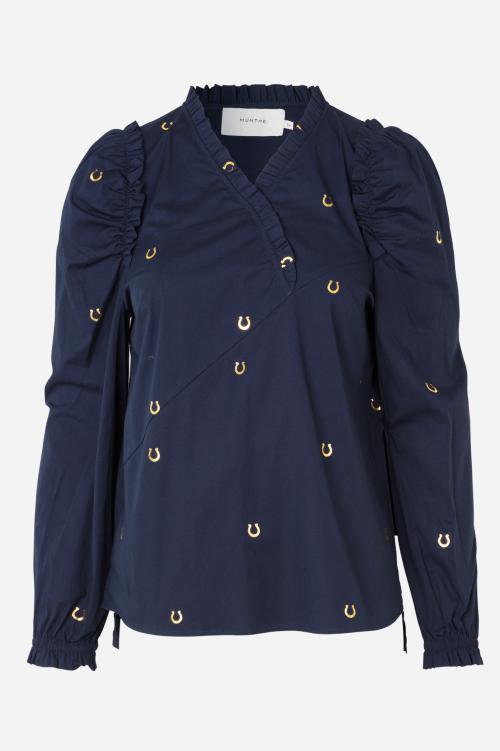 Indigo bomull blusetopp med gull hestesko print Munthe - ladybug 1013