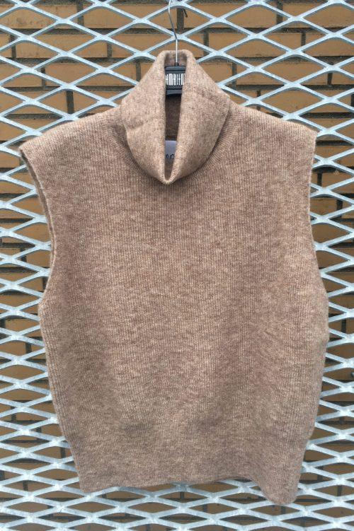 Beigebrunmelert mohairmix vest Ilag - føyno sleveless