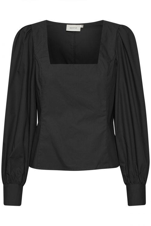 Sort bluse med lekker firkant-hals Gestuz - 10904749 elvana blouse