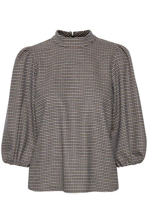 Brown check flanellkjole blusetopp Gestuz - 10904775 viv blouse