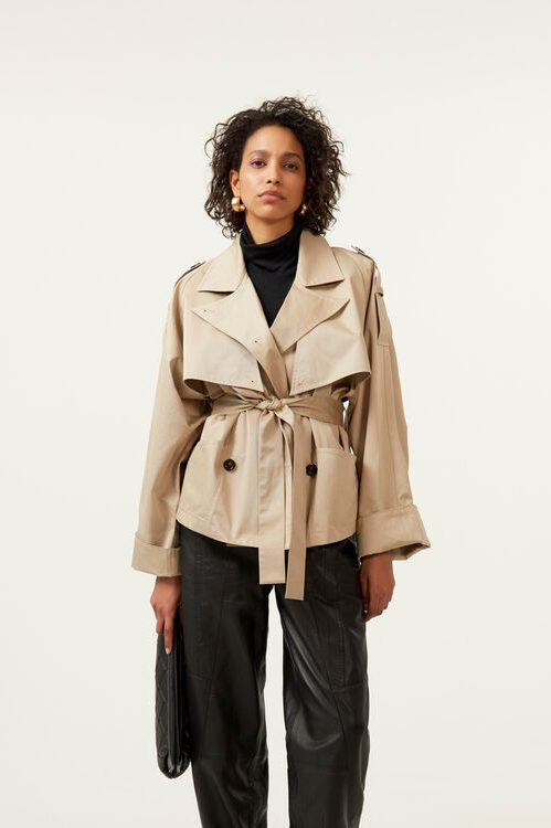 Beige kort trenchcoat bomull Gestuz - 10904783 miia jacket
