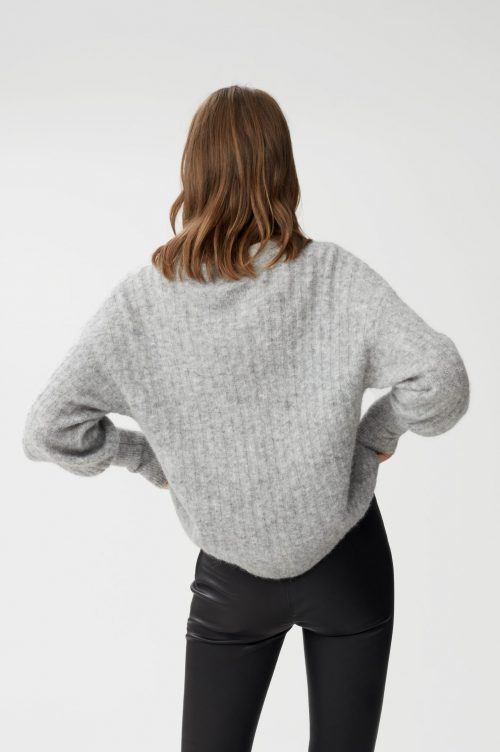 Gråmelert ribbet alpakkamiks genser med ballongerm Gestuz - 10904224 alpia pullover
