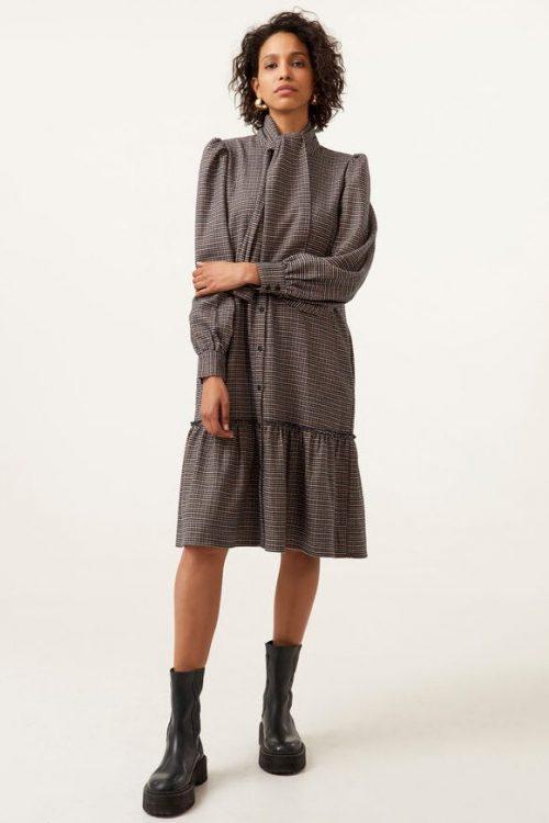 Brown check flanellkjole med kappe Gestuz - 10904822 viv dress