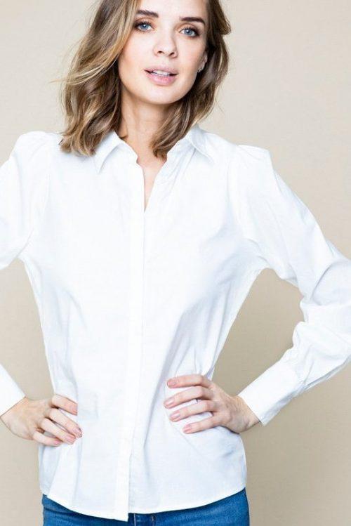 Hvit bomull feminin skjorte med skulderpuff Ella&Il - julianne
