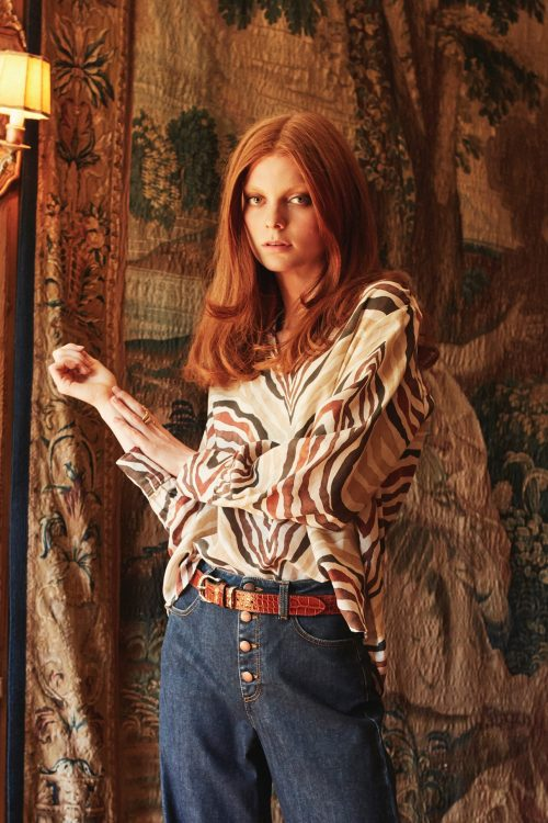 Stripet ramie/bomull bluse med v-hals Katrin Uri - 412 nami sahara blouse
