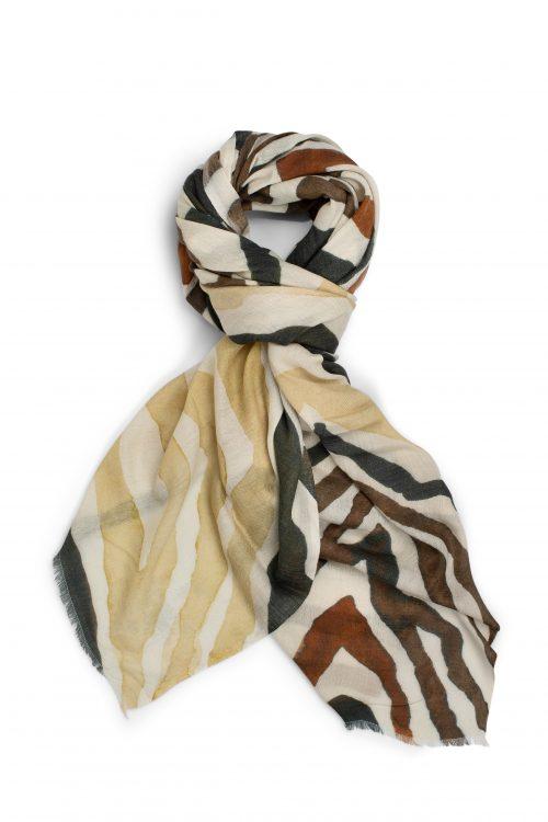 Stripet cashmere-ull-bomull skjerf Katrin Uri - 927 sahara day scarf