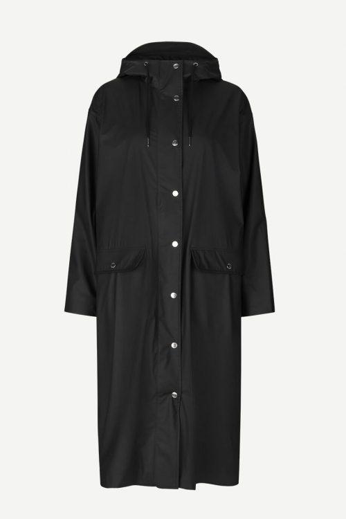 Sort lang regnfrakk Samsøe - 7357 stala long jacket