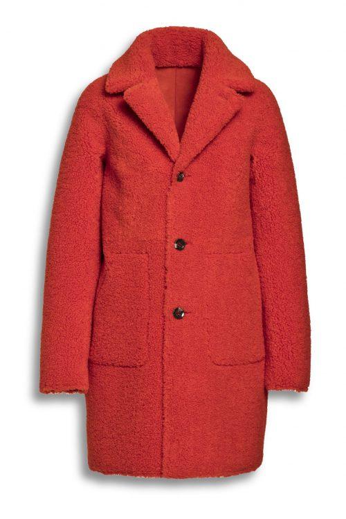 Rød vendbar faux teddy fur saueskinn kåpe Beaumont - BM5430203