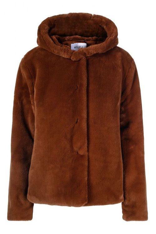 Kanel 'mink' fuskejakke med hette Ella&Il - charlie fake fur