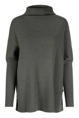 Grønn 100% merino oversized t-neck genser med splitt Ella & Il - krisy