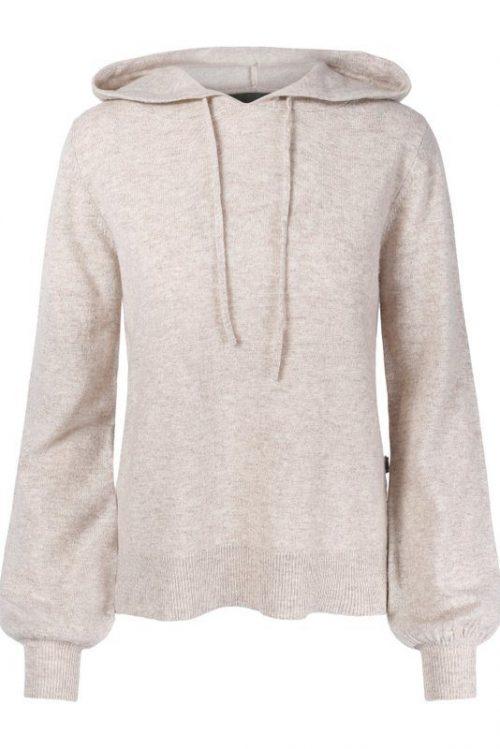 Taupebrunmelert (ikke beigemelert) cashmere/ull hoodie Ella & Il - mille