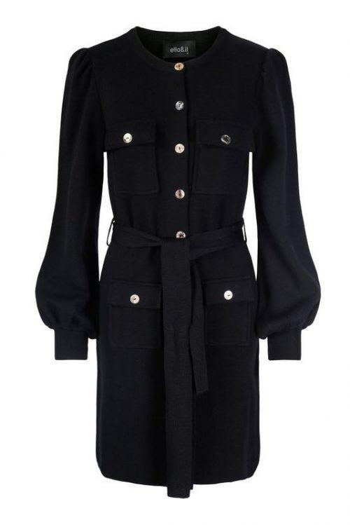 Sort 100% merino trendy strikkekjole med knapper og belte Ella&Il - sissi