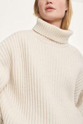 Offwhite oversized lang ribbet tunikaaktig genser med høye splitter og polohals Samsøe - 11250 keiko t-neck