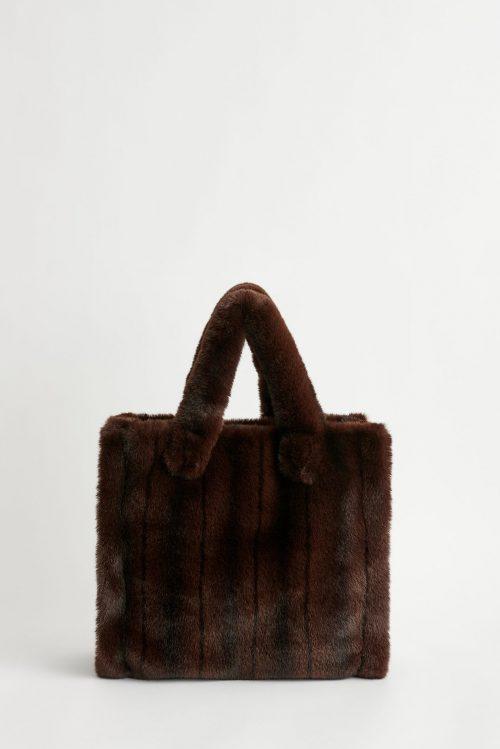 Brown striped faux fur tote Stand - lolita bag brown