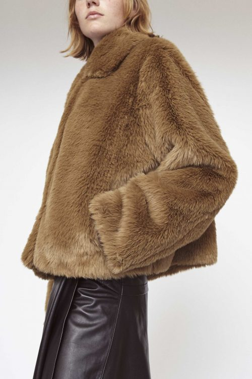 Light khaki eller sort soft faux fur jakke Stand - marcella jacket
