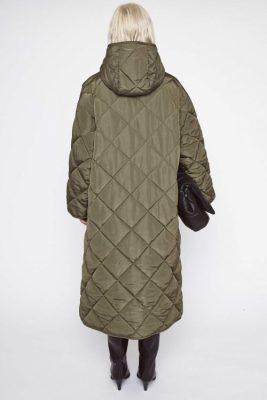 Army green vaffelmønstret kåpe med hette Stand - sue coat