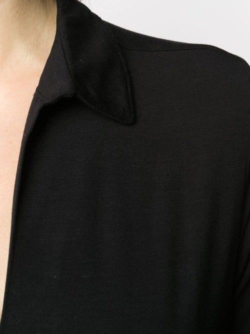 Sort eller marine pique viskose skjortetopp Majestic - M001-ftu-042