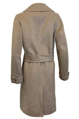 Sandcamel farget 70%ull kåpe med belte Amuse by Veslemøy - 7202