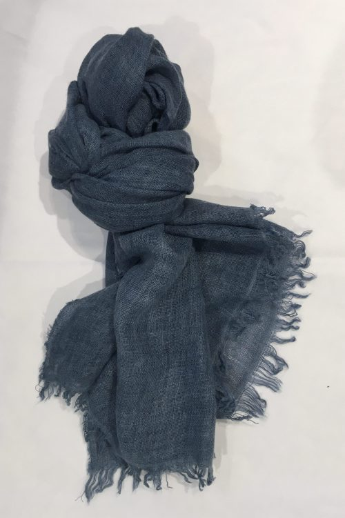 Jeansblå, rustrød, koks, lindegrønn og beige italienske ull/viskose skjerf Bæltekompagniet - stola 254