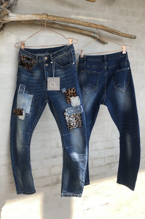 'Leo patch' jeans Cabana Living - DY-712 leo patch denim dark blue