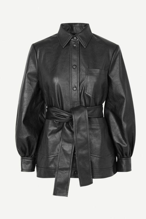 Sort fake skinnjakke med belte og poset erm Samsøe - Vestine jacket 13003