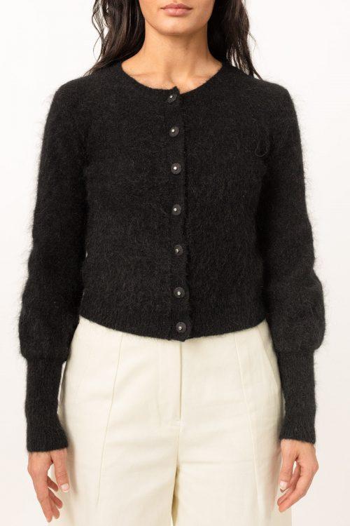 Lys beige eller sort soft mohair cardigan Cathrine Hammel - soft petit cardigan
