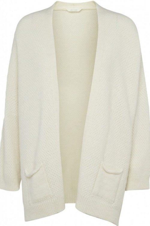 Offwhite perlestrikket cardigan med lommer og splitt i siden Gai+Lisva - charlotte