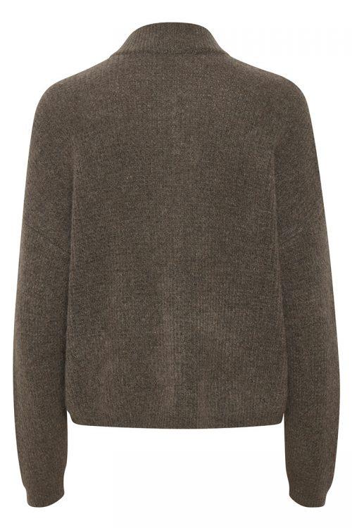 Taupe, sort, gråmelert, offwite, blåmelert eller oliven mohairmix cardigan med krage Gestuz - debbie short