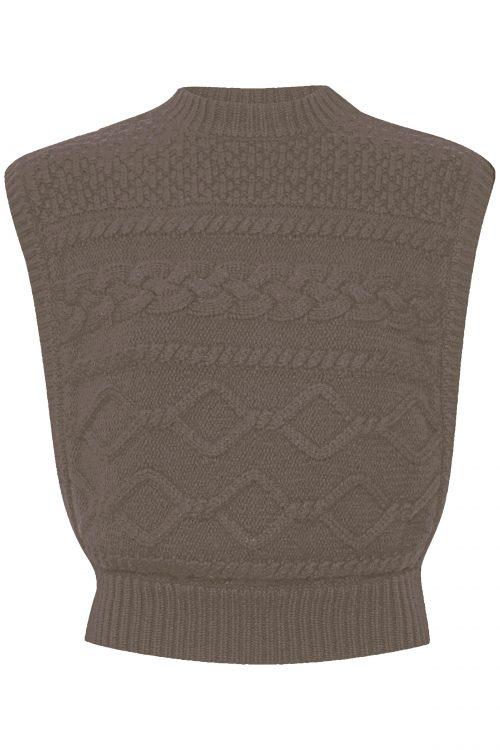Navy eller nougat ull/organisk bomull mønsterstrikket vest Gestuz - 10904841 lupia waist coat