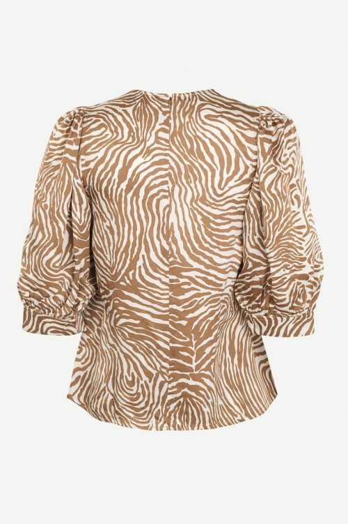 Mountain zebra viskose bluse med pufferm Samsøe - Celestina blouse aop 12887