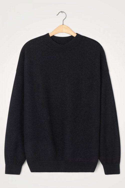 Sort ull oversized t-neck genser med tilhørende kosebukse American Vintage - tad18a