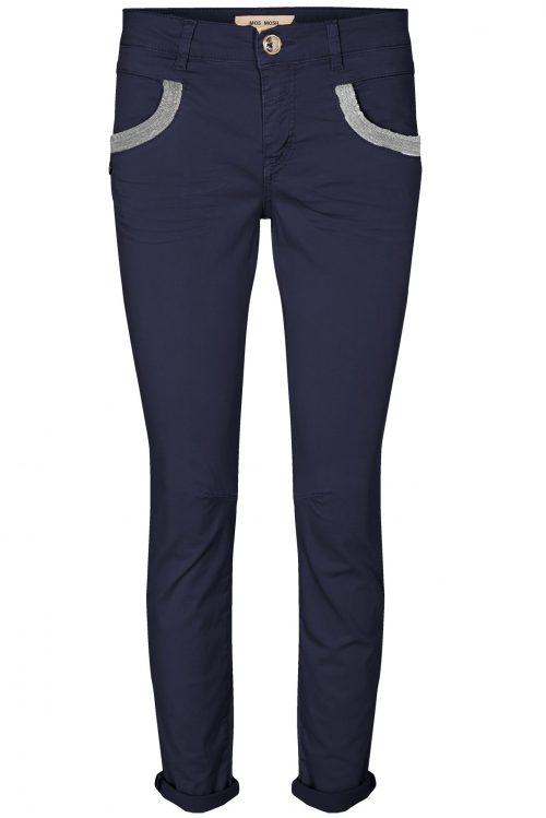 Blå bomullstretch bukse med dekor Mos Mos - naomi daze navy