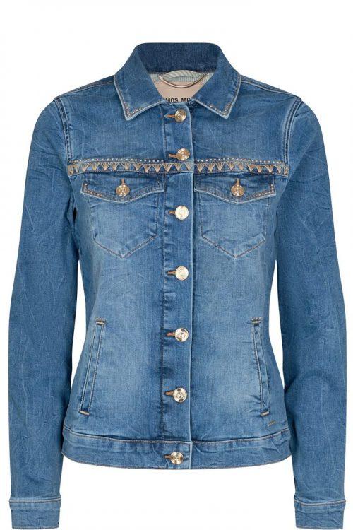 Light blue jeansjakke med dekor Mos Mosh - reese denim jacket light blue