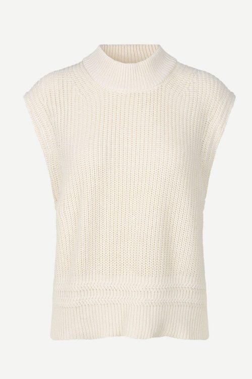 Clear cream bomull/silke ribbet vest Samsøe - Janet vest 12931