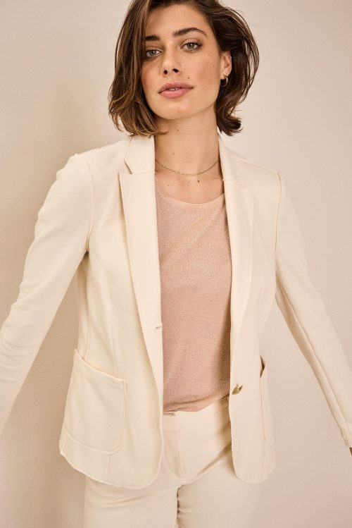 Offwhite eller navy pique blazer med gullknapper med tilhørende cropped bukse Mos Mosh - 138001 viga pique blazer / 138060 bella pique pants