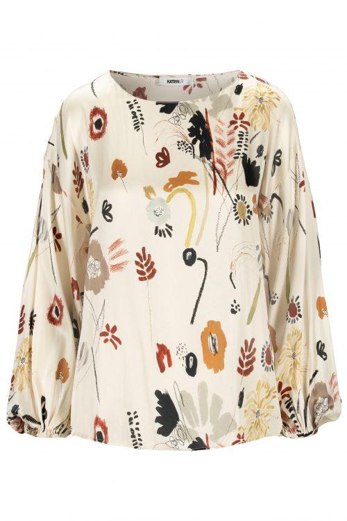Marocco eller capri silkesateng bluse med båthals Katrin Uri - 404 memories athena blouse