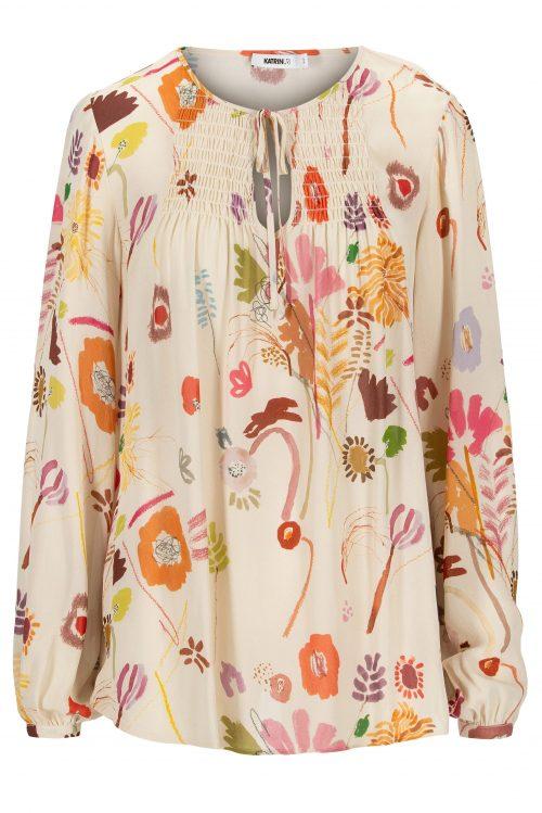 Capri viskose bluse med strikksøm og knyting Katrin Uri - 407 memories josie blouse
