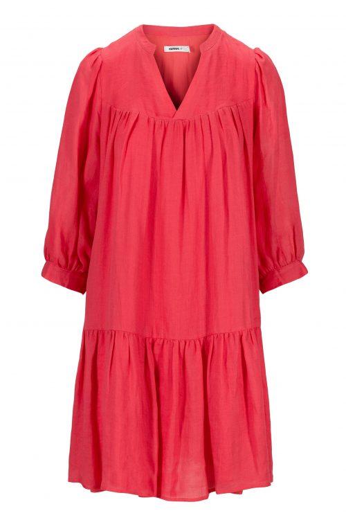 Watermelon ramie kjole med kappe, v-hals og 3/4 erm Katrin Uri - 629