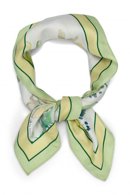 Fleur green lite silke skjerf Katrin Uri - 971 70 x 70 cm