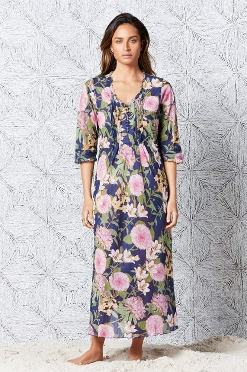 Navymønstret lang bomull kjole OneSeason - St. Barts long poppy