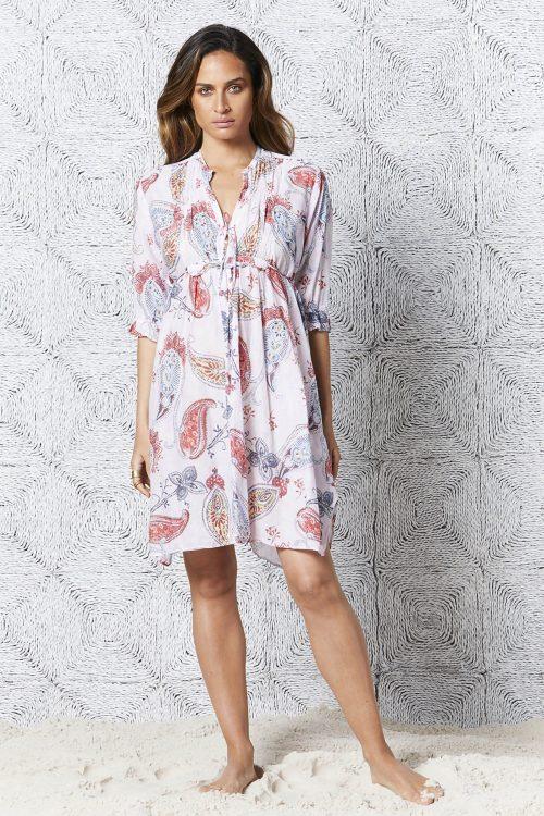 Hvit med rosa paisley bomull kjole OneSeason - croatia audrey
