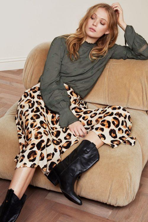 Leopard viskose lang omslagsskjørt Fabienne Chapot - bo bo skirt